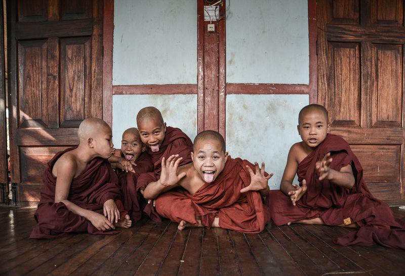 Photographie Les moinillons en Birmanie