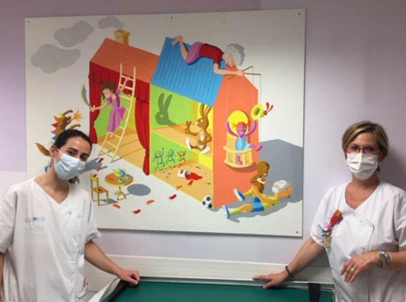 Fresque sur les jeux Hôpital du Kremlin Bicêtre