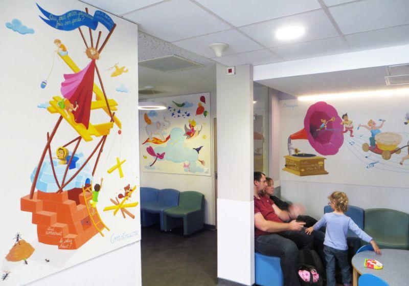 Hôpital Fresque devinettes en salle d'attente
