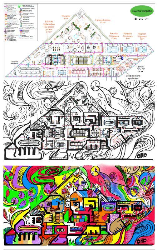 Dessin inspiré d'un plan de bâtiment
