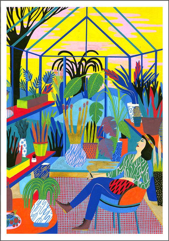 illustration vegetale femme veranda
