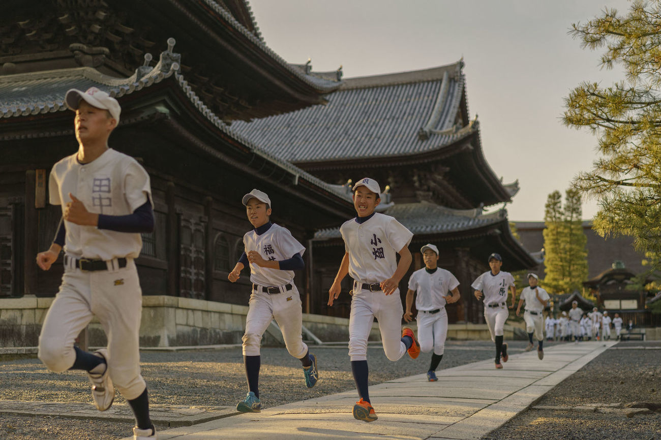 JAPAN - BASEBALL TRAINING INSIDE THE TEMPLE COMPLEX OF MYOSHIN-JI