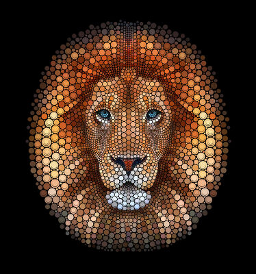 Lion face made of circles